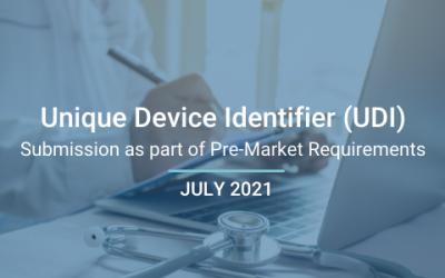 Unique Device Identifier (UDI) Submission as part of Pre-Market Requirements