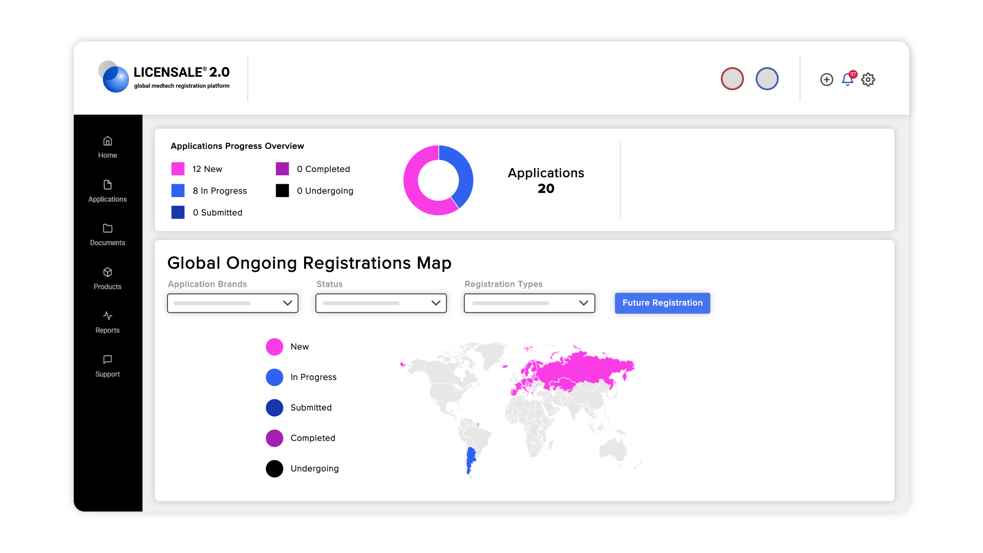 dashboard showing global map with ongoing registration process tracking on LICENSALE 2.0 - Medical Device Registration Software