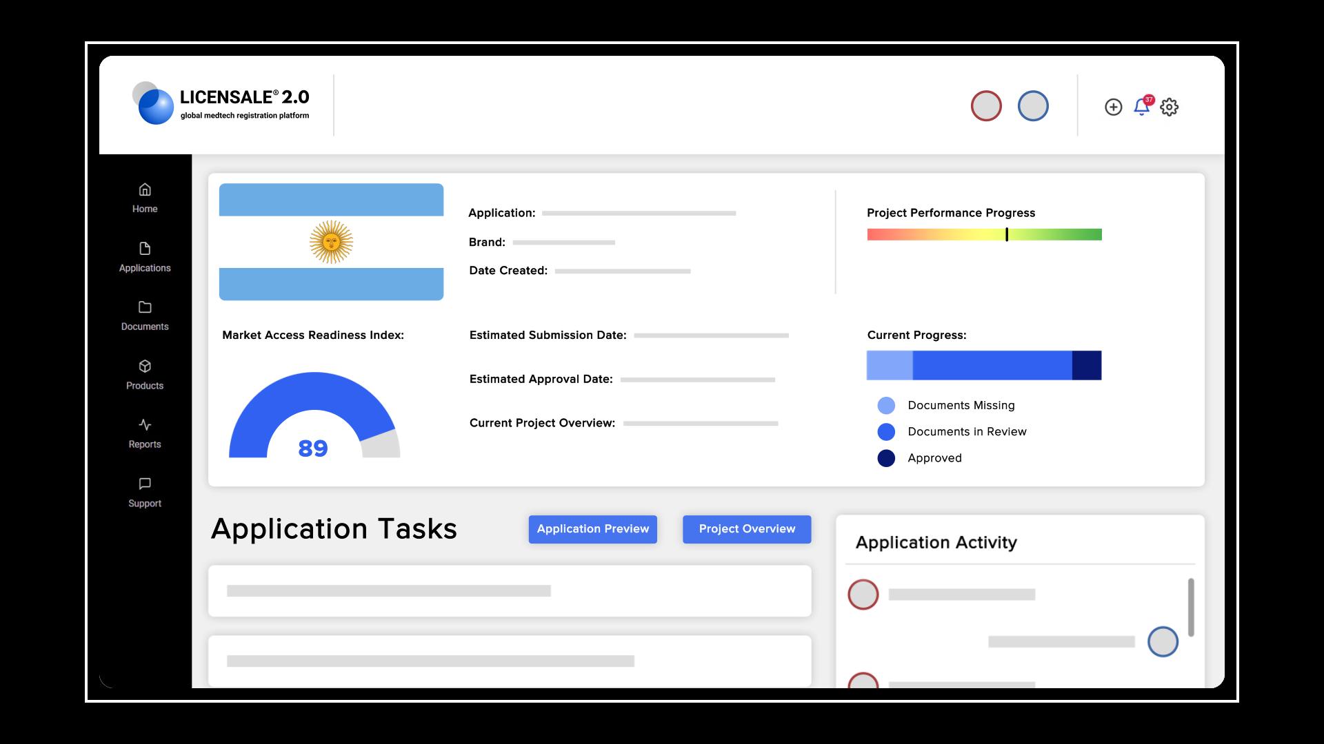 Applications task checklist on LICENSALE 2.0 - Medical Device Registration Software